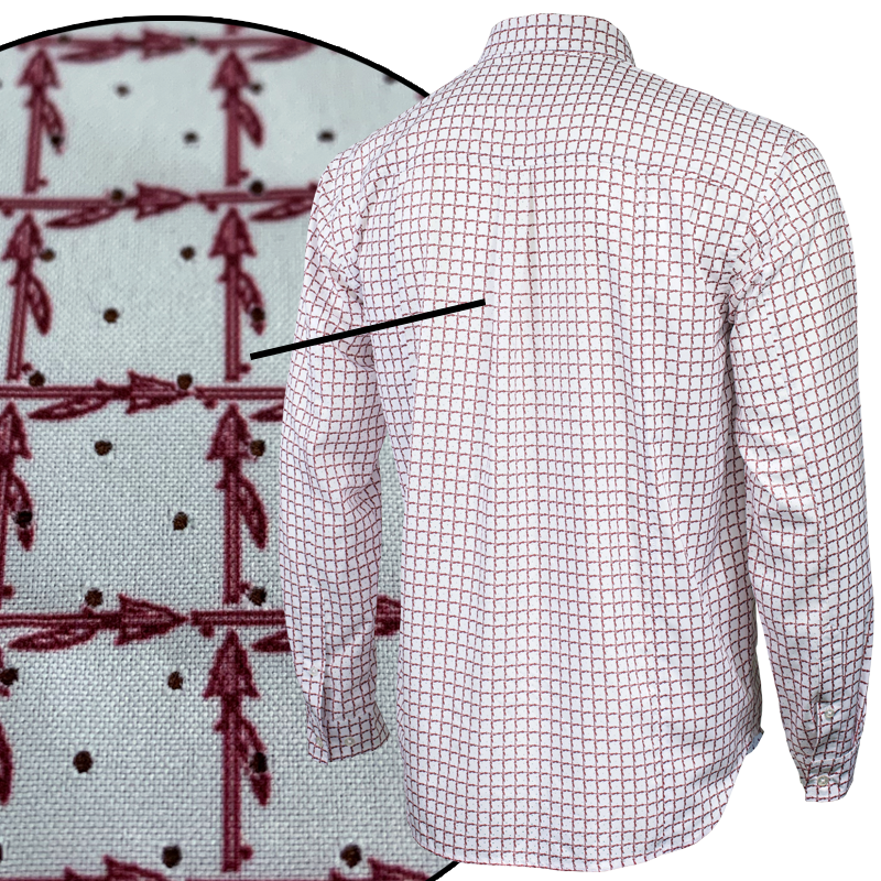 Close up of Florida State University FSU Seminoles Plaid Long Sleeve Button-down Shirt ventilation on back