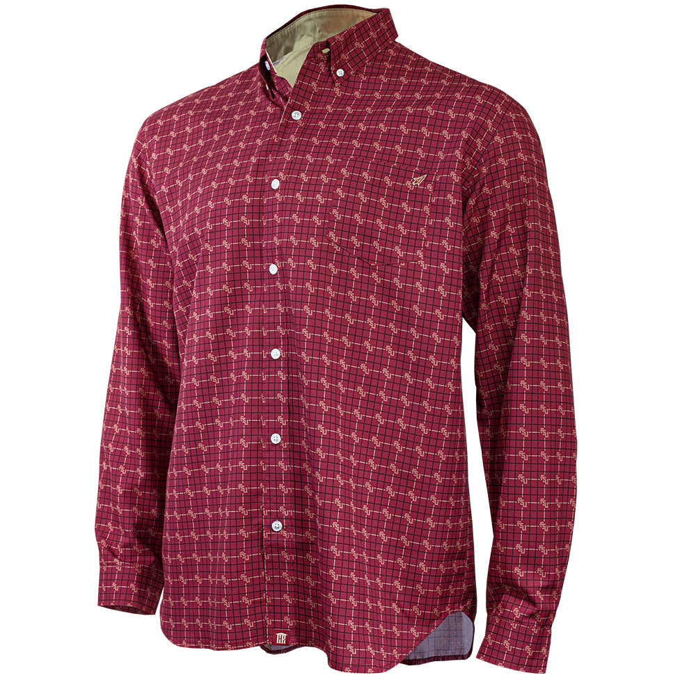 Florida State University FSU Garnet Game Day Long Sleeve Woven Shirt