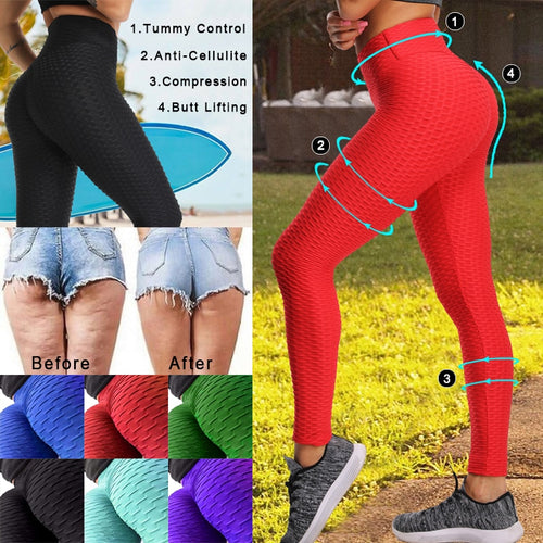 Women Anti-Cellulite Yoga Pants - Sport leggings Push Up Tights Gym Exercise High Waist Fitness Running Athletic Trousers