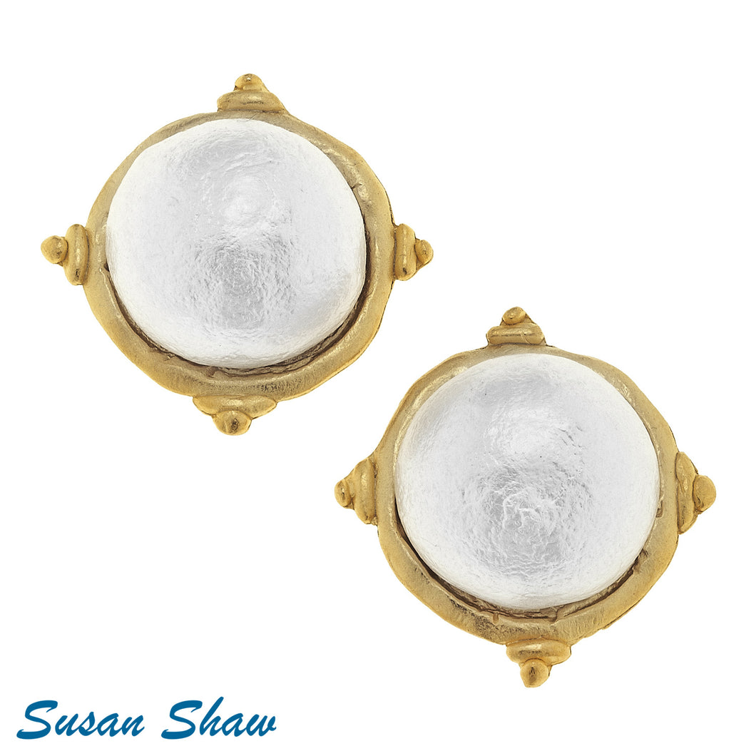 Gold w/ Cotton Pearl Cab Stud Earrings