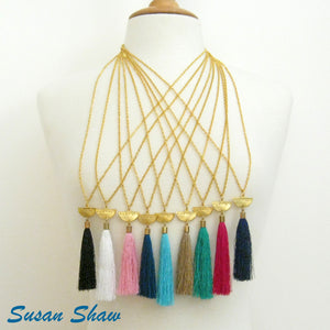 Silk Tassel & Gold Half Moon Necklace