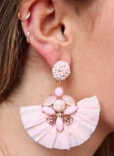Load image into Gallery viewer, SEED BEAD POST EARRING WITH EMBELLISHED RAFFIA FAN DROP