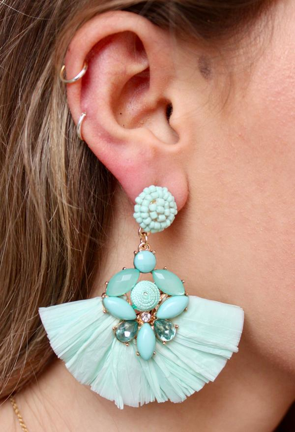 SEED BEAD POST EARRING WITH EMBELLISHED RAFFIA FAN DROP