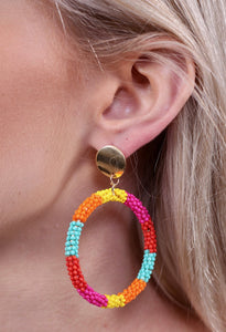 MULTI ROUND SEED BEAD DROP EARRING MULTI