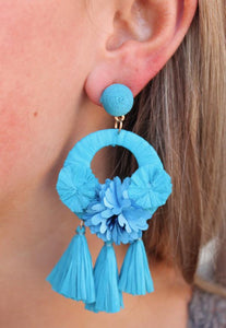 RIKA POST DROP RAFFIA TASSEL AND FABRIC FLOWER EARRINGS