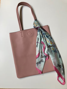 Leather Tote with Scarf