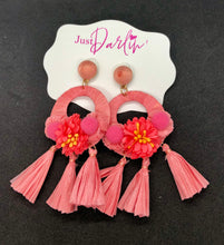 Load image into Gallery viewer, RIKA POST DROP RAFFIA TASSEL AND FABRIC FLOWER EARRINGS