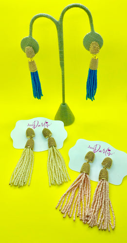Seed Bead with Gold Tassel Earrings