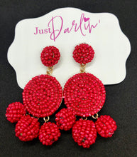 Load image into Gallery viewer, Three Seed Bead Ball Dangle Earrings