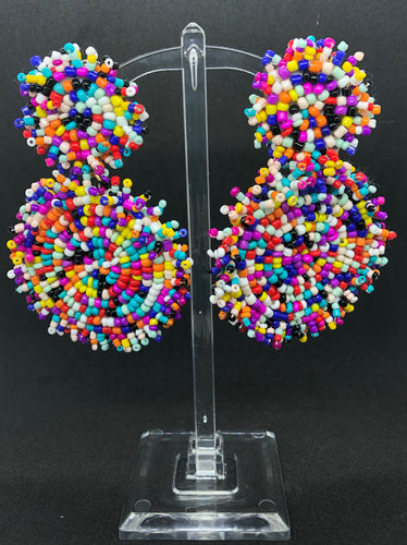 Extra Large Multi-Color Seed Bead Earrings