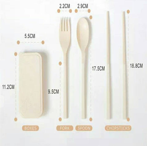 Dimension and sizes of spoon fork chopstick and container