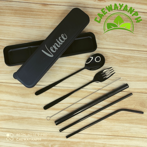 Stainless Metal Cutlery and Straw Set