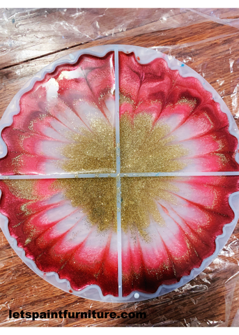 resin geode coaster mold with resin pink and gold agate