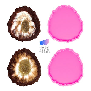 oval pink silicone resin craft coaster geode mold