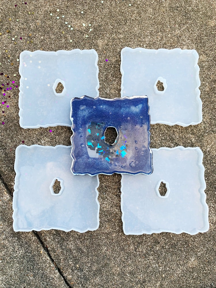 square resin geode coaster silicone mold