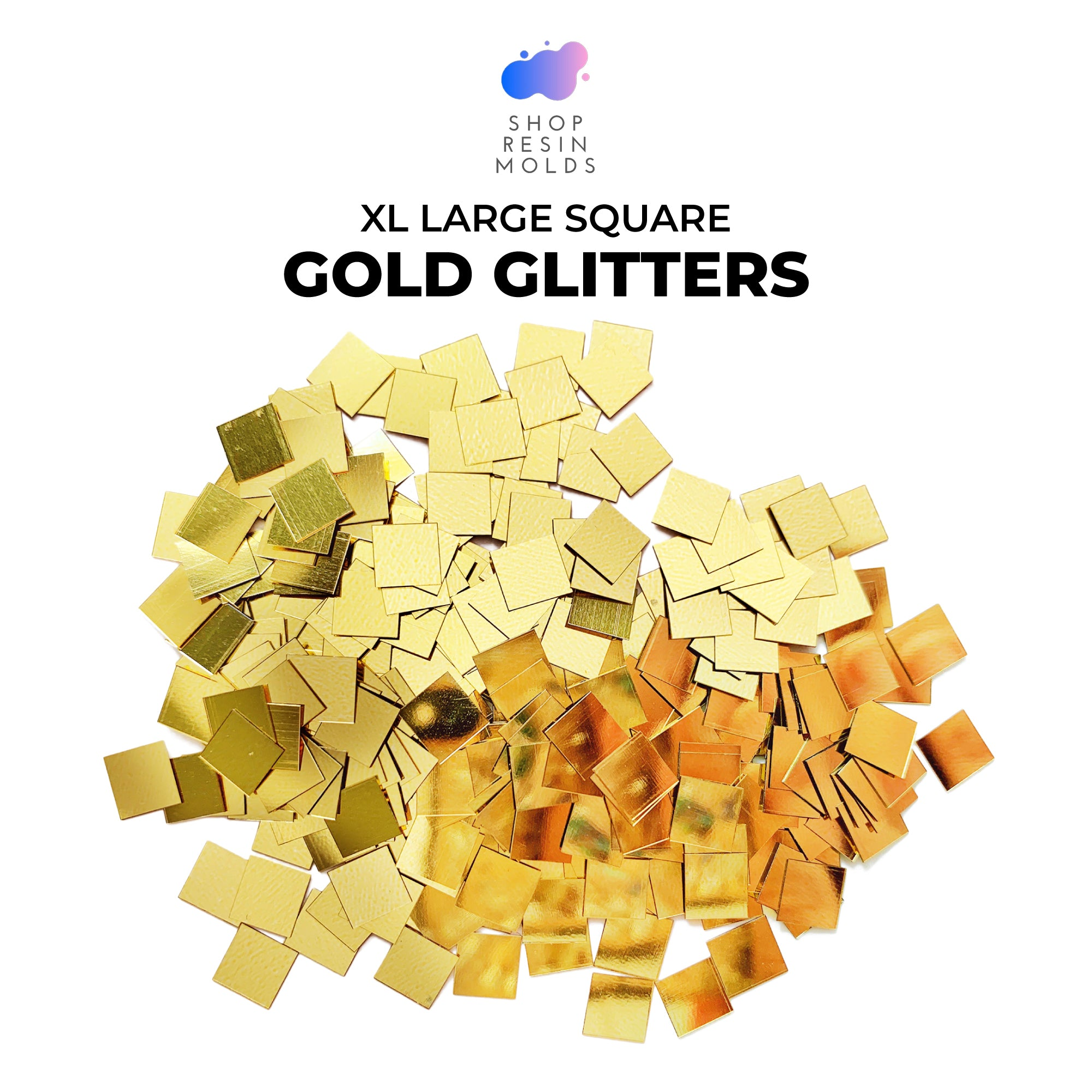 extra large gold glitter chunky square glitter for resin coasters