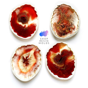 Geode Coaster resin silicone mold agate slice epoxy set of 4