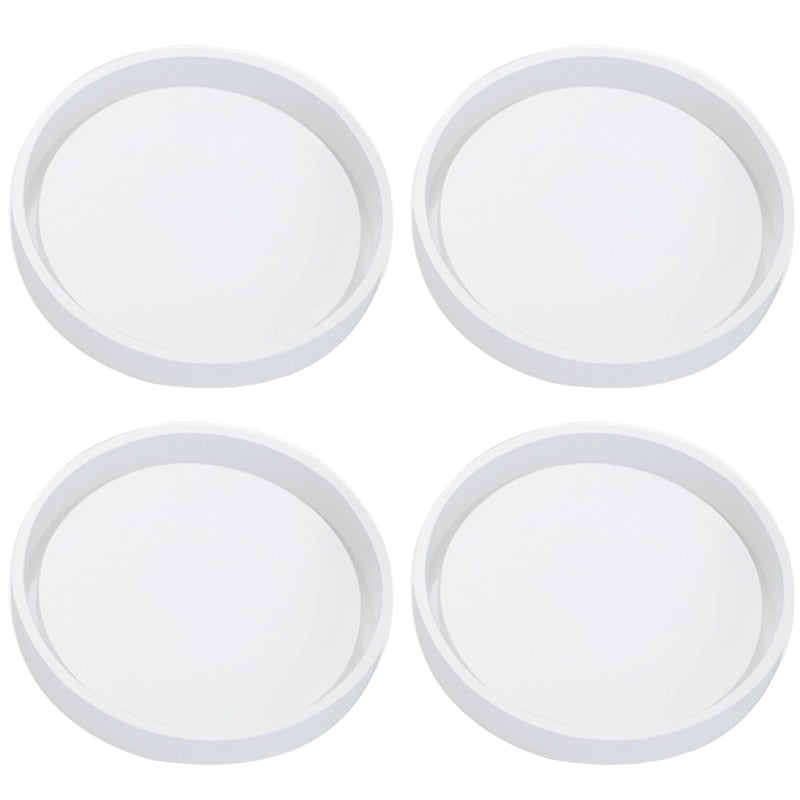 4 Pack Big Diy Round Coaster Silicone Mold, Diameter 3.94Inch/10Cm, Molds For Casting With Resin