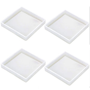 Square 4 piece silicone resin coaster set