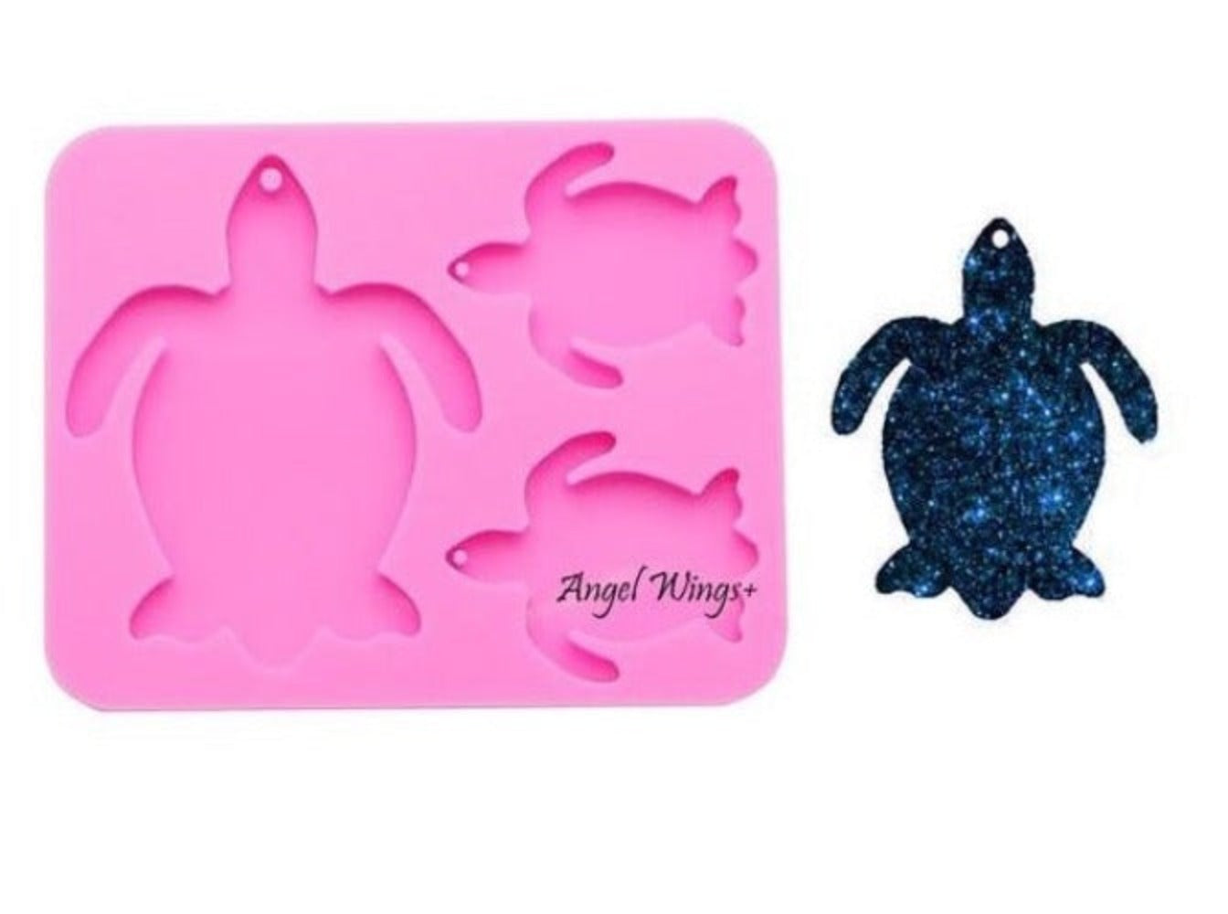 resin keychain silicone sea turtle family mold