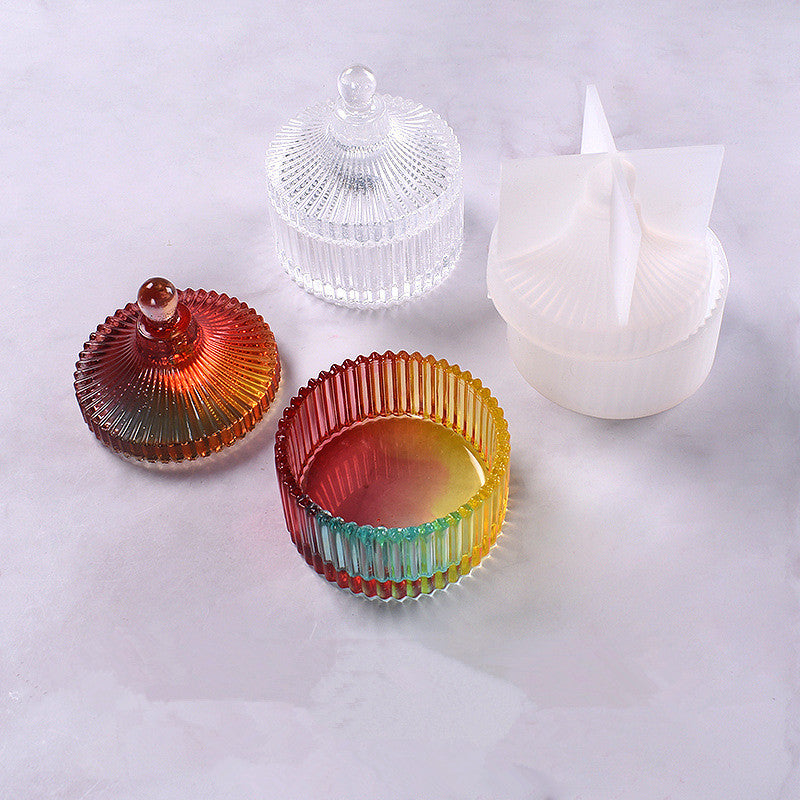 Round stripe jewelry Box, Candy Dish Container Epoxy Resin Mold Silicone storage box mold