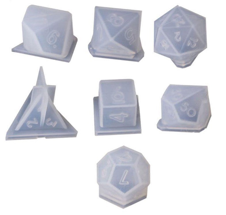 dice epoxy resin mold 7 piece set game