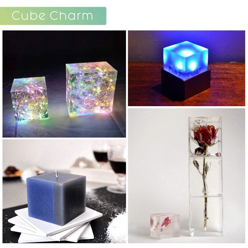 paperweight resin silicone mold square cube