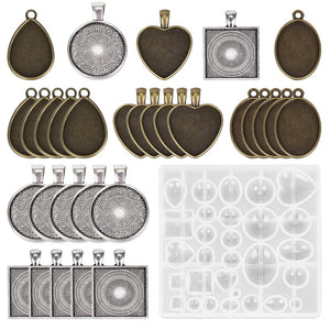 resin silicone necklace jewelry earring mold set kit