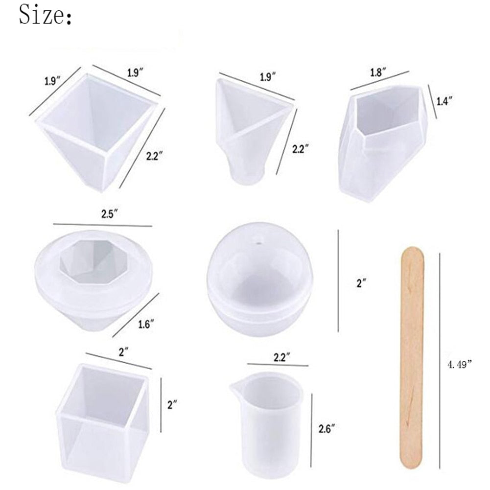 resin silicone pyramid art mold silicone kit set