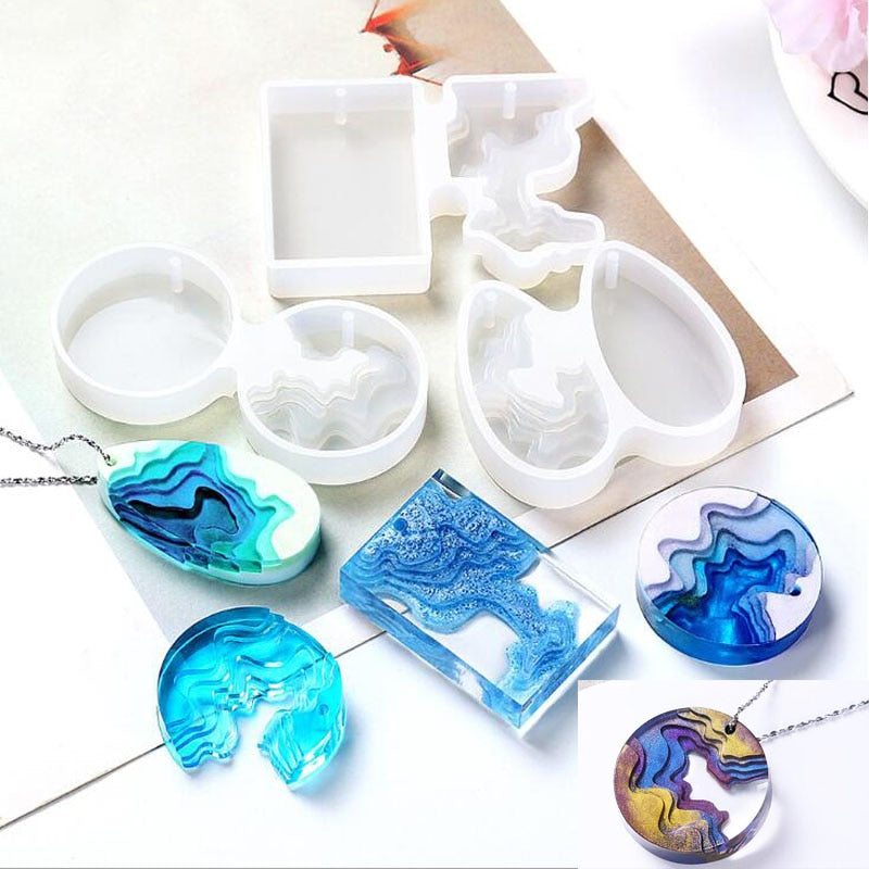 wave necklace pendant jewelry resin mold mountain
