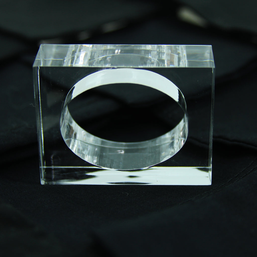 Clear Square Acrylic Napkin Ring Bases for Resin Art, tray