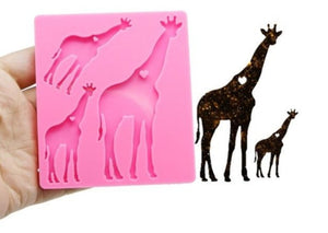 Giraffe family keychain mold for resin silicone