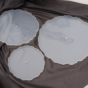 3PCS Round 3 tiered resin geode tray mold