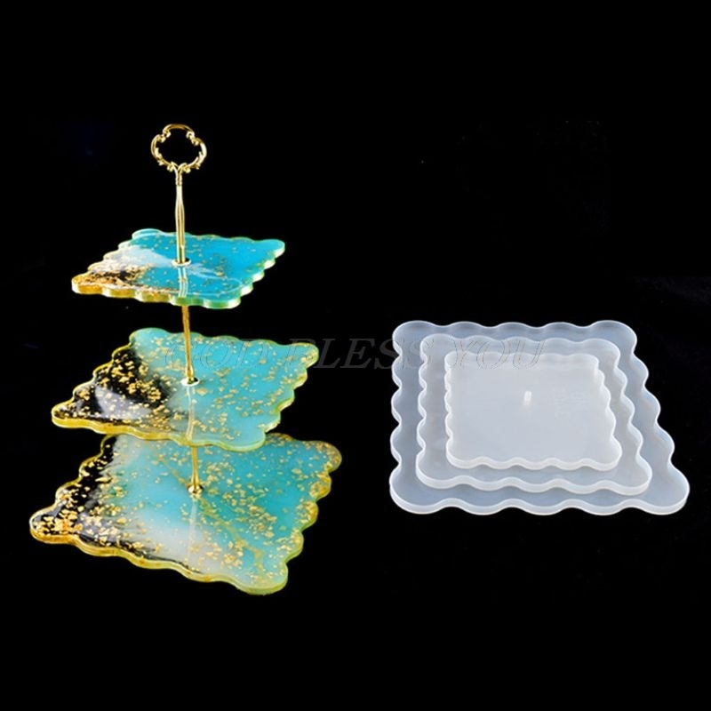 square resin three tier tray silicone mold
