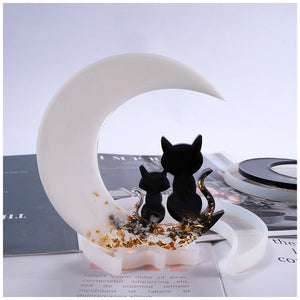 cat kitten crescent craft resin silicone mold