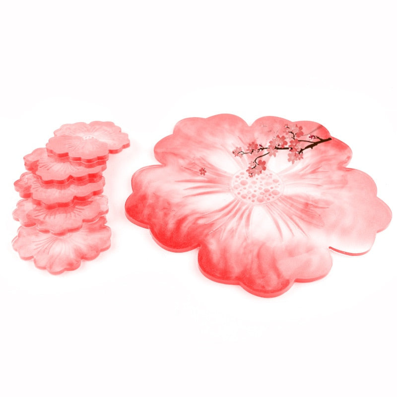 resin flower tray with coasters silicone mold craft