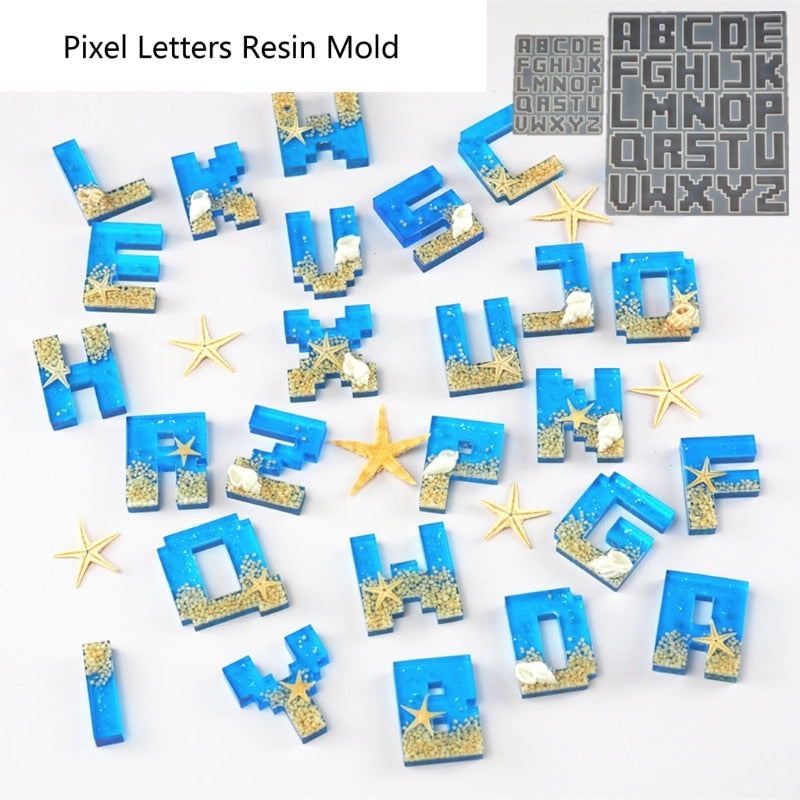 alphabet letters keychain resin jewelry silicone mold