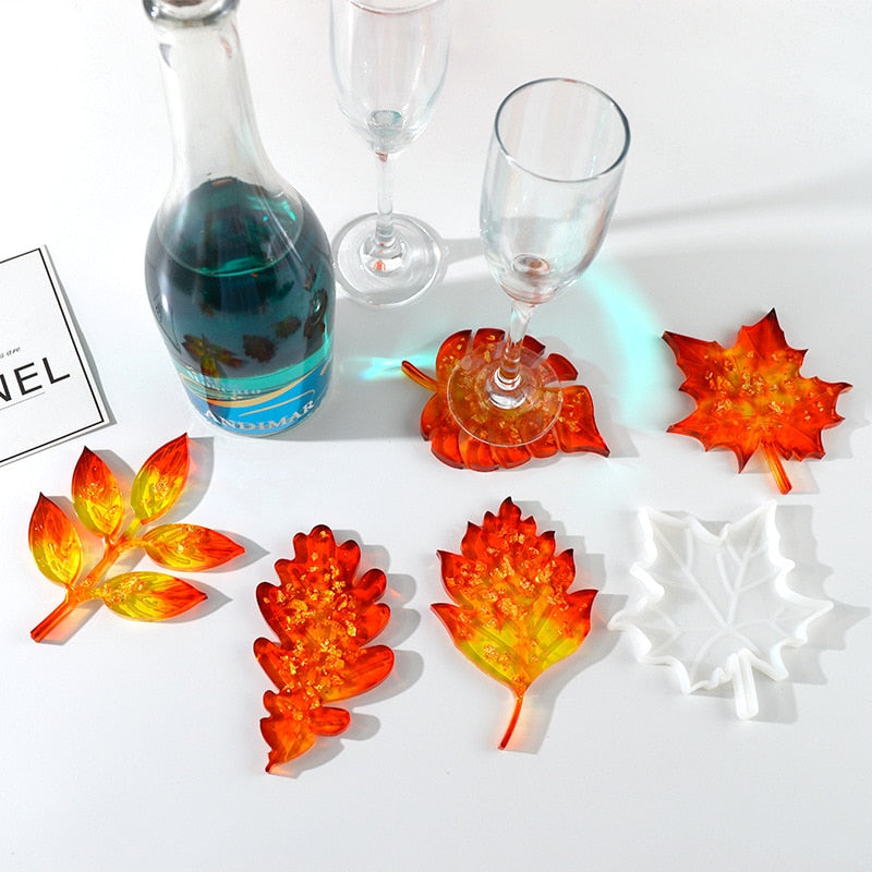 fall leaf maple silicone resin coaster mold