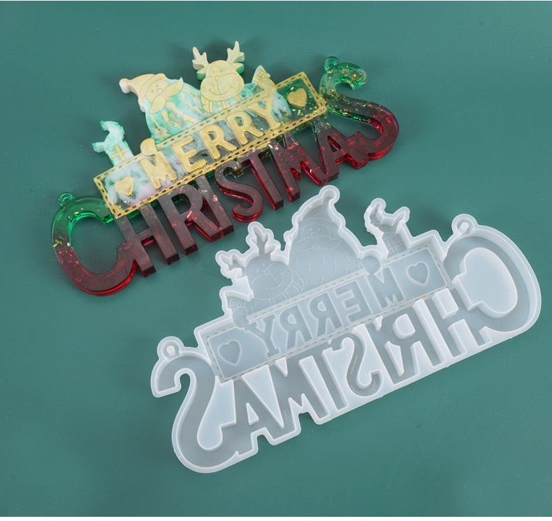 Merry Christmas Resin Mold, Holiday Collection