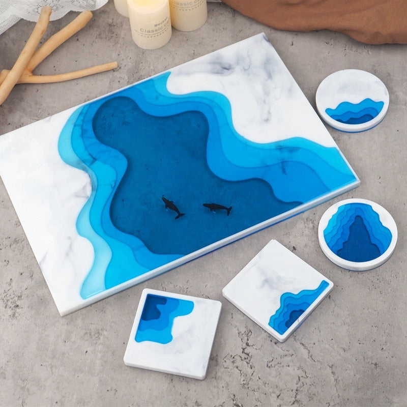 ocean wave landscape resin coaster tray mold