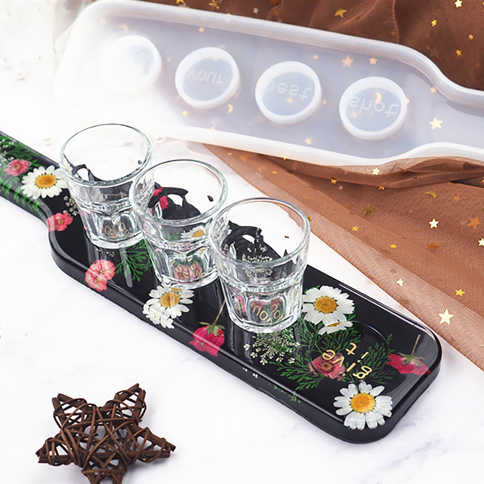 shot glass resin tray mold silicone