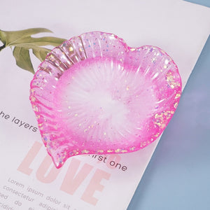 trinket dish palm leaf heart resin silicone mold