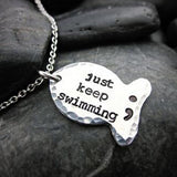 """Just keep swimming"" Semicolon Necklace - Silver Plated  - [variant_title] - Project Love Back"