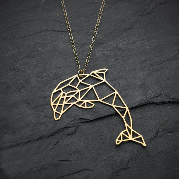 Geometric Dolphin Necklace  - Gold color - Project Love Back