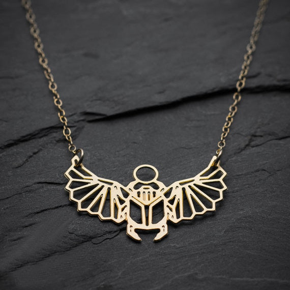 Geometric Scarab Beetle Egyptian Necklace  - Default Title - Project Love Back