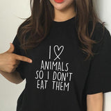 """I love animals, So I don't eat them"" Unisex Tee  - [variant_title] - Project Love Back"
