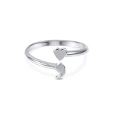 Heart Semicolon Ring - Silver plated  - [variant_title] - Project Love Back