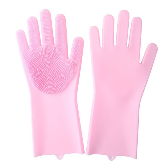 Silicone Scrubber Rubber Cleaning Gloves  - Pink - Project Love Back