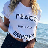 """Peace Starts With Empathy"" Unisex Tee  - [variant_title] - Project Love Back"