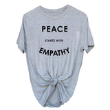 """Peace Starts With Empathy"" Unisex Tee  - Gray / L - Project Love Back"